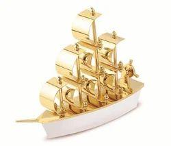 Golden Stainless Steel Gold Finish Ship Showpiece