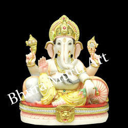 Painted White Marble Lord Ganesh Statue