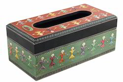 Madhubani Painted Wooden Tissue Box