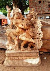Radha Krishna Wooden Statue 5 Feet
