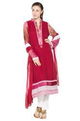 Styling Beautiful Red Red Colored Party Wear Long Suit