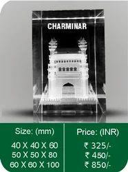 80 X 50 X 50 Mm Transparent 3D Crystal Monuments
