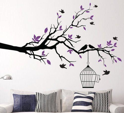 beautiful black branches purple leaves birds wall sticker