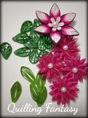 Paper quilled flowers set 01 quilling fantasy ambarnath id paper quilled flowers set 01 mightylinksfo