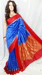 BRINJAL And Border And Plain Saree, With Blouse Piece