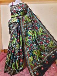 Festive Wear Kantha Stitch Saree on Bangalore Silk