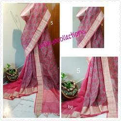 Silk Linen Saree With Banarasi Border