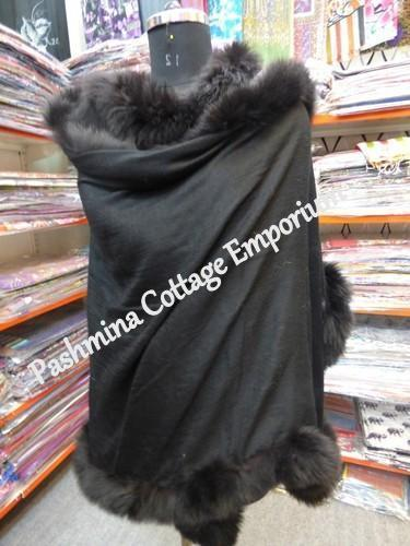 Black Casual Wear Fur Allover Silk Pashmina Stole