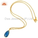 Gemstone Beaded Gold Plated Pendant Necklace