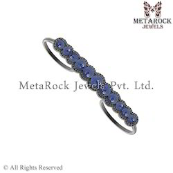 Blue Sapphire Gemstone Two Finger Ring Jewelry