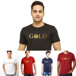 Gold Printed Round Neck T Shirt