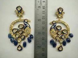 Kundan Meena Polki Earrings