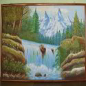 Wooden Scenery Waterfall Wall Painting