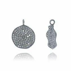 Pave Diamond Round Pendant