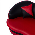 Red-Black Leather Cushioned Sofa Set