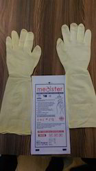 Off White 16 And 18(inches) Elbow Length Latex Surgical Gloves