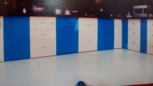 Blue Kitchen Cabinet Carbonated With Profile Shutters