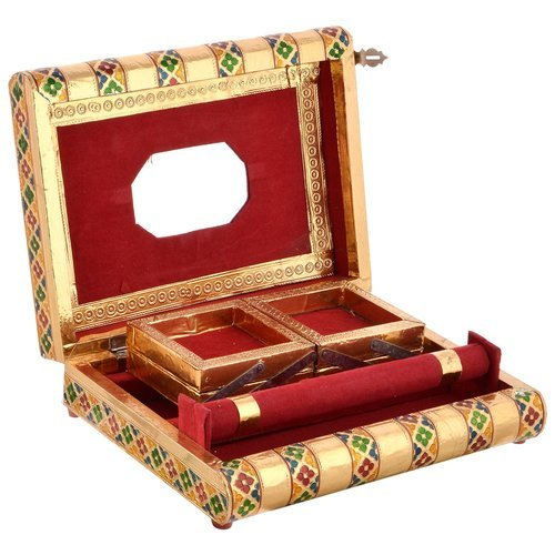 Golden Meena Wedding Jewelry Box