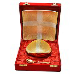 Wedding Gift Gold Plated Bowl Tray Set