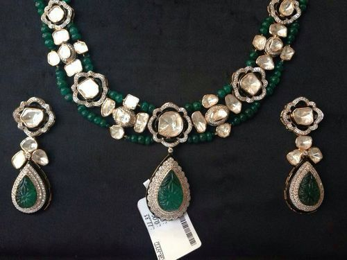 large diamond golden set red green hyderabad uncut from jewels antique necklace az