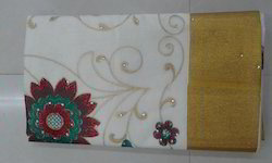 Kerala Cotton Saree - Embroidering
