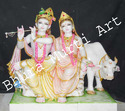 Marble Radha Krishna Statues With Cow