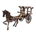 Brown Antique Finish Horse Cart Made Of Brass For Table Decor