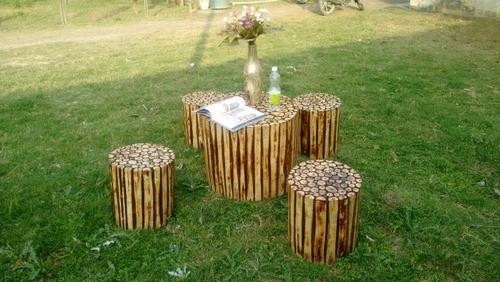 Garden Wooden Coffee Table Set With 4, Wooden Coffee Table For Garden
