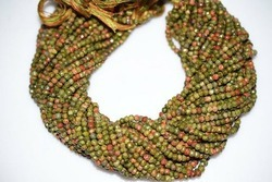 Unakite Gemstone Faceted Rondelle Beads Strand