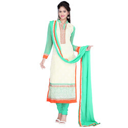 Embroidery, Semistiched White-Green Georgette Dress