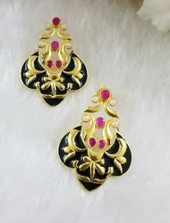 Hand Painted Meena Peacock Earring