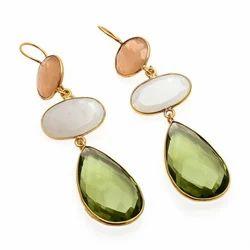 Pink Chalcedony, Milky Chalcedony, Green Amethyst Earring