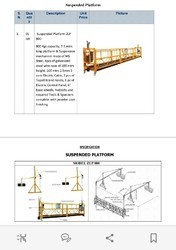 Suspended Platform / Hanging platform
