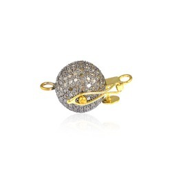 14k gold pave bead ball lock finding