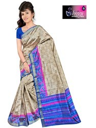 Shreeji Casual Wear Ladies Grey Raw Printed Silk Saree, With Blouse Piece