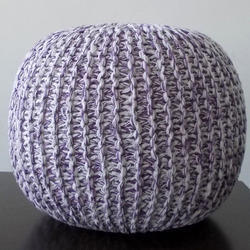 PF101 Lilac Knitted Pouf