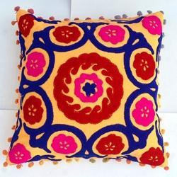 Embroidery Multicolor Wool Embroidered Cushion Cover