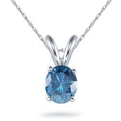 Solitaire Blue Diamond Pendant