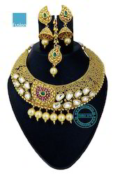 Ruby Kundan Pearl Necklace Set
