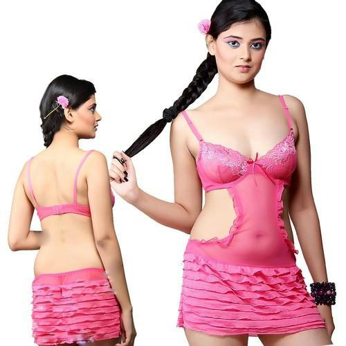 Designer Mini Nighty in Pink Net 513 6ba26e835
