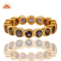 Iolite Gemstone 18k Gold Plated Silver Wedding Band Ring