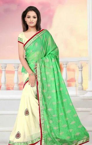 136d9b031 Wholesaler of Silk Saree   Green Colour Synthetic Designer Saree by ...