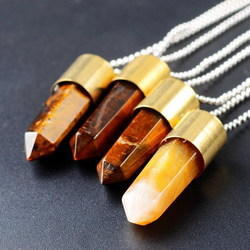 Golden Fancy Tiger Eye Sterling Gemstone Necklace with Cord End, Size: 1 Inch