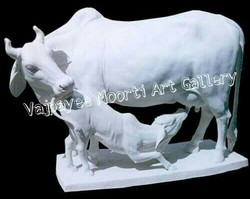 White Marble Cow Statue
