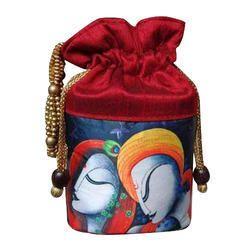 Handled Silk Printed Potli Bag