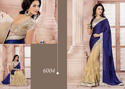 Classy Net And Georgette Blue Saree