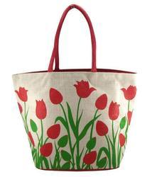 Floral Printed Ladies Jute Bags