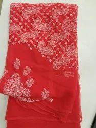 Red Chikan Saree