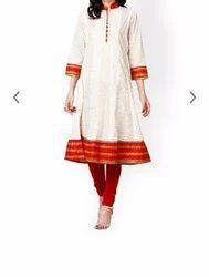 White & Red Party wear Prakhya Women White Red Anarkali Kurta