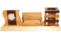 Wooden Pen Stand with Clock